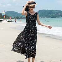 兰兰大码女装夏装V领无袖雪纺连衣裙长裙波西米亚海边度假沙滩裙
