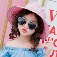 女童遮阳帽夏防晒帽女童帽子沙滩帽宝宝空顶帽女童太阳帽儿童凉帽