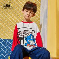 【2件3折:53.7元】小虎宝儿男童纯棉长袖T恤儿童打底衫中大童圆领卡通上衣体恤2021秋新款