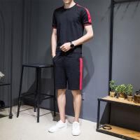 男士运动套装夏季跑步健身运动衣服装宽松休闲t恤短裤两件套