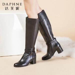 达芙妮长靴女鞋秋冬季时尚牛皮简约粗跟女靴子高帮长筒靴子高筒靴