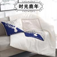 汽�抱枕被子多功能�捎每�劭�|��意��d��瓤照{被�k公室午睡枕J 天�{色 �r光鹿【抱枕被】