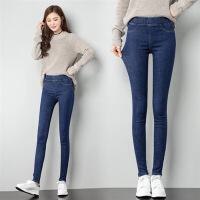 高腰牛仔裤长裤纯色气质百搭韩版修身显瘦简约时尚2018年春季 蓝色