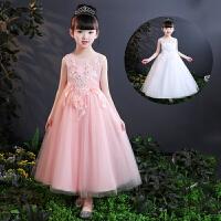 11岁小学生表演裙夏季大女童白色礼服长裙15女孩主持人公主纱裙粉