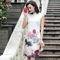 真丝连衣裙旗袍领无袖中腰刺绣中长裙修身2017年夏季 图片色