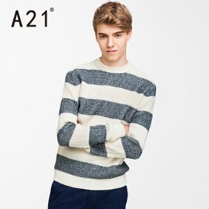 以纯A21毛衣男学生秋冬男士圆领针织衫长袖条纹 套头青年冬季2017新款