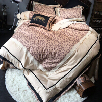 家纺80支磨毛四件套豹纹床上用品蕾丝花边欧美风1.8米床品秋冬多件套