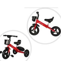 儿童三轮车宝宝自行车多功能脚踏车3-6岁童车漂移车玩具车 桔红色 充气轮两功能