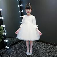 春冬女童公主裙儿童红色纱裙小女孩花童礼服长袖连衣裙子