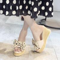 蝴蝶结坡跟凉拖鞋女外穿时尚厚底增高百搭裙子穿的鞋
