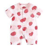 新生婴儿纱布衣服夏季薄款初生宝宝短袖哈衣夏装连体衣