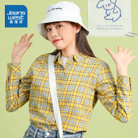 真维斯女装 2021春装新款 纯棉色织格仔长袖衬衫