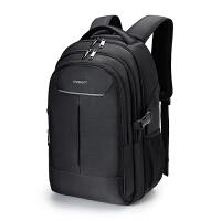 商务双肩包男士背包韩版中学生书包女休闲旅行背包16寸电脑包男包bc 经典款黑色带