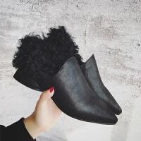 2017秋冬新款时尚套脚单鞋两穿羊羔毛皮毛一体尖头一脚蹬毛毛鞋女