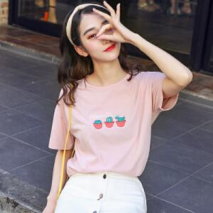 AGECENTRE 白色短袖t恤女2018春夏装新款半袖韩版修身t恤上衣服
