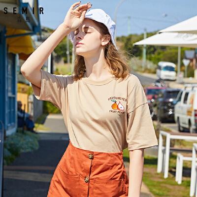 森马短袖T恤女2019夏季新款宽松显瘦打底衫纯棉上衣学生刺绣体恤