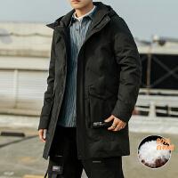 羽绒服男黑色连帽中长款商务正装棉外套加绒加厚宽松棉服男冬