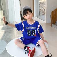 【2件2折】左西男童纯棉短袖套装夏装2021新款儿童中大童篮球服两件套夏季潮韩版
