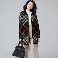 2017秋冬新款女方格子毛呢羊绒衫外套中长款加厚貂绒修身大衣