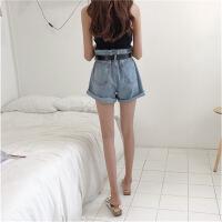 夏季女装新款韩国复古卷边阔腿裤学生宽松高腰牛仔裤短裤 配腰带 蓝色