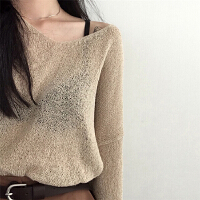 春秋装新款长袖薄款毛衣针织衫韩版V领宽松长袖套头罩衫上衣女装