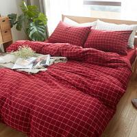 日式床上四件套棉棉床上用品水洗棉床单格子被套床笠三件套