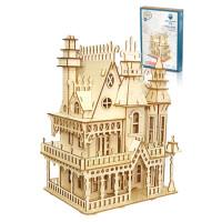 手工拼插建筑大型木制立体拼图 木质船模型拼装仿真玩具 白色 8星-梦幻别墅