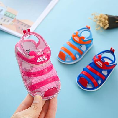 婴儿凉鞋男夏季软底防滑0-2岁幼儿毛毛虫包头女宝宝鞋子学步