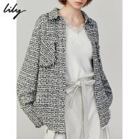 Lily2019秋新款女装气质小香风流苏中长款宽松直筒衬衫短外套4940