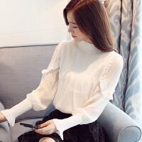 2017秋冬装新款韩版百搭气质蕾丝打底衫潮长袖灯笼袖上衣服女春季 白色
