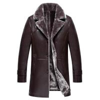 皮毛一体中年男外套加绒加厚中长款真皮皮衣爸爸装皮草大衣冬
