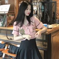 2018春装新款韩版刺绣短袖上衣打底修身西装领单排扣衬衣衬衫女装