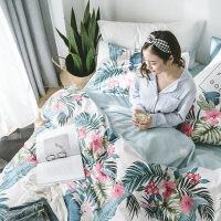 春夏简约花卉棉四件套春季棉被套床单/床笠单双人床品4件套件