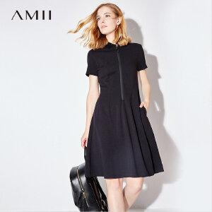 【五折再叠20元优惠券】Amii极简黑色大码连衣裙女夏2018新款运动polo领裙A字中长裙子