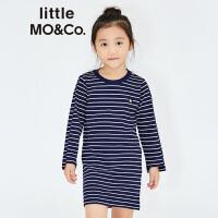 littlemoco女童经典蓝白条纹星星长袖连衣裙KA173DRS206