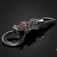 七夕礼物 钥匙扣男士腰挂不锈钢金属创意龙头钥匙环圈链汽车挂件礼品 083黑色