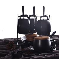 七夕礼物 黑磨砂咖啡杯带盖带勺欧式下午茶茶具套装家用简约办公室陶瓷杯 4杯4碟4勺4盖 配原黑桃木盖子4个