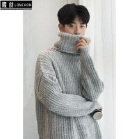 冬季男装韩版纯色打底衫长袖套头针织衫厚BF风宽松男士高领毛衣