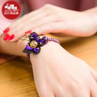 凤凰涅磐手链女中国风天然紫水晶单层蝴蝶坠新款原创复古手工饰品