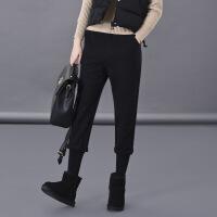 休闲裤简约韩版甜美清新简约修身显瘦口袋纯色2017年冬季