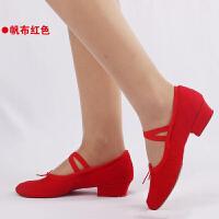 舞蹈鞋红色带跟练功鞋女软底中跟儿童跳舞鞋民族舞教师鞋