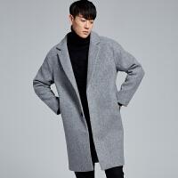 秋冬季韩国宽松风衣男士毛呢大衣外套妮子大衣青年加棉加厚男装 浅灰色