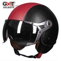 GXT摩托车头盔半覆式电动车半盔男女四季通用空军复古机车安全帽