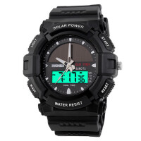 个性太阳能手表时尚电子双显防水户外运动男表潮流学生腕表