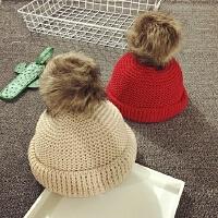 儿童毛线帽男女宝宝帽子1-2岁大毛球针织帽盆帽潮套头帽保暖护耳