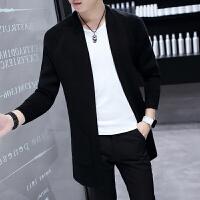 男士外套2017新款秋冬款毛衣中长款韩版风衣青年针织开衫帅气百搭 黑色 黑色