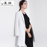 夏妆2018春秋新韩版修身显瘦长袖西服大码中长款休闲小西装女外套上衣 S (103斤以下)