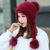 兔毛帽子女冬天包头帽韩版潮时尚可爱加厚绒针织帽保暖护耳毛线帽