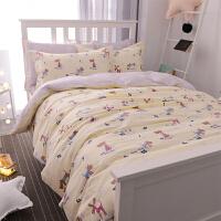 卡通四件套可爱棉床单床上三件套棉0.9米学生宿舍单人床1.2m