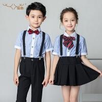 儿童礼服幼儿园校服小学生合唱朗诵服装男童女童背带裤套装